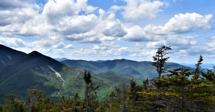 Scenic view of the Adirondack mountains with trees in the foreground