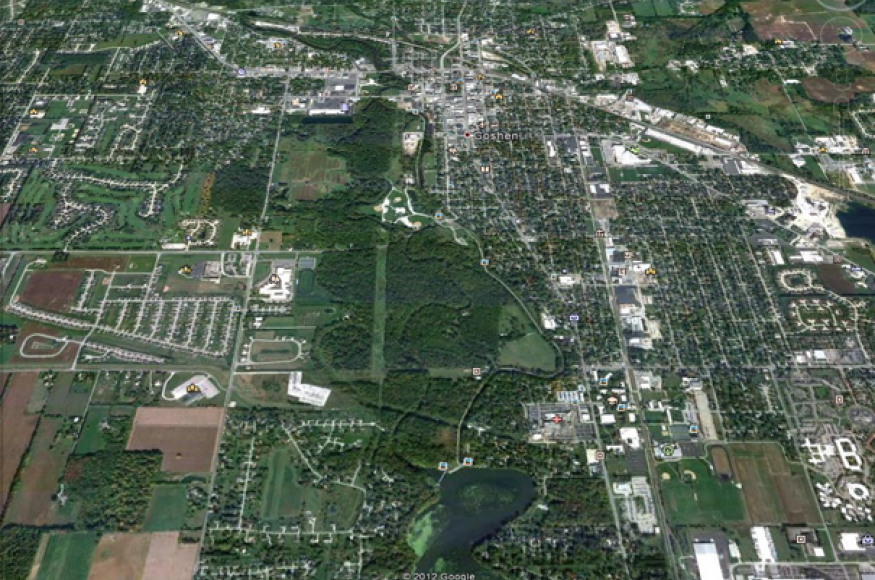 aerial view of Goshen